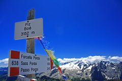 Signpost on the summit of Piz Boa Stock Images