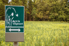 Signpost in Sweden: Stock Image