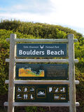 Signpost. Table mountain. National park. Boulders beach. Royalty Free Stock Photo