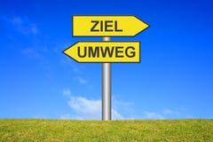 Signpost - Target or Detour. Directional sign Signpost showing Target or detour in german language Royalty Free Stock Photos