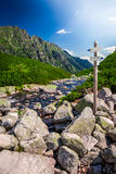 Signpost in Tatra Mountains in summer Royalty Free Stock Photo