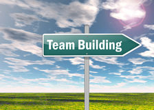 Signpost Team Building. Signpost with Team Building wording Stock Photos