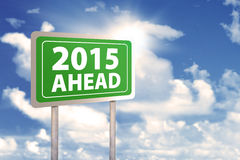 Signpost with text 2015 ahead Stock Photo