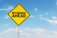 Signpost with text of retirement ahead outdoors Stock Images