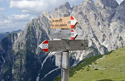 Signpost at the Three Peaks of Lavaredo Stock Photography
