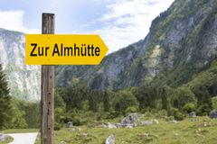 Signpost to the alpine hut. In mountain landscape royalty free stock photography