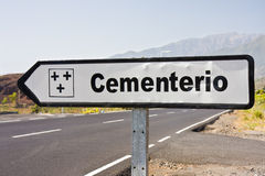 Signpost to cemetery at La Plama, Canary ISpain Stock Image