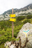 Signpost to different touristic at the mountains Stock Images