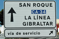 Signpost to Gibraltar from Spain Stock Images