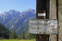 Signpost. To Hinterstoder in the austrian alps Stock Image