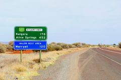 Signage to Kulgera and Alice Springs, Stuart Highway, Australia Stock Photography