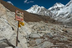 Signpost to the Mount Everest Base Camp with Nuptse mountain in royalty free stock image