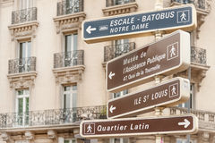 Signpost to Parisian landmarks Royalty Free Stock Photos