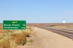 Direction signs to Roxby Downs and Andamooka, Outback of South Australia Stock Image