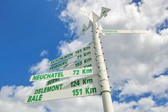 Signpost to swiss cities Stock Image