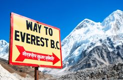 Signpost To The Mount Everest Base Camp. View Of Everest And Nuptse From Kala Patthar. Royalty Free Stock Images