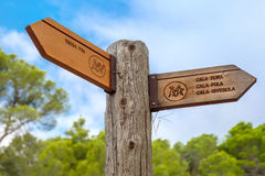 Signpost to the Tossa de Mar, Costa Brava, Spain Stock Photos