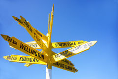 Signpost to the world, Bluff. Stock Photography
