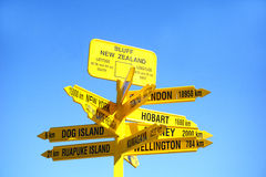 Signpost to the world, Bluff. Royalty Free Stock Photo