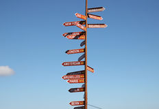 Signpost. To the world capitals against the sky royalty free stock image