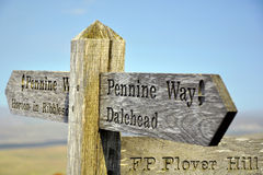 Signpost on top of hill in British countryside stock photos
