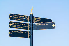 Signpost with tourist information signs in Scheveningen, The Hag Royalty Free Stock Photography
