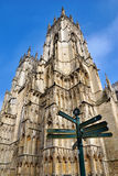 Signpost And Tower York Minster Stock Photography