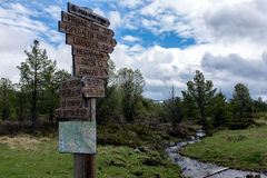 Signpost on trail Stock Photos