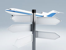Signpost.travel to europe concept 3d. Image of airplane and signpost.travel concept 3d Stock Photos