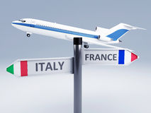 Signpost.travel to europe concept 3d. Image of airplane and signpost.travel concept 3d Royalty Free Stock Image