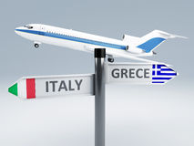 Signpost.travel to europe concept 3d Royalty Free Stock Images
