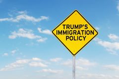 Signpost with Trump`s Immigration Policy word Royalty Free Stock Photos