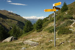 Signpost in valley above Zinal, Switzerland Royalty Free Stock Images
