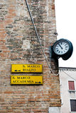 Signpost in Venice, Italy Stock Photo