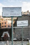 Signpost at the Via dei Fori Imperiali, Rome, Italy, Europe royalty free stock image