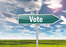 Signpost Vote. Signpost with Vote wording concept royalty free illustration