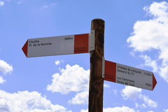 Signpost walking route Culilla. Royalty Free Stock Image