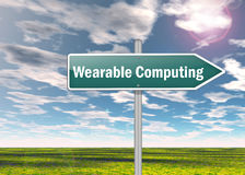 Signpost Wearable Computing. Signpost with -Wearable Computing- Wording Royalty Free Stock Photos