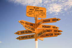 Signpost, which destination which direction ?. Direction and destination signpost at stirling point, bluff, new zealand Stock Images