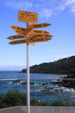 Signpost, which destination which direction ?. Direction and destination signpost at stirling point, bluff, new zealand Royalty Free Stock Photos