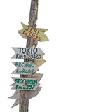 Signpost on white. Wooden signpost isolated on a white background Stock Photography