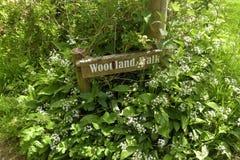 Signpost in wild garlic near Tyneham Royalty Free Stock Photography