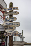 Signpost. A wooden signpost showing directions in Steveston, British Columbia, Canada Stock Images