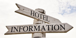 Signpost with the word. Signpost with the words Hotel,information on the direction arrows, against a bright cloudy sky Stock Photography