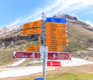 Signpost written in German tells various hiking trails, Zermatt, Switzerland. Blumenweg is blumen trail, murmelweg is marmot trail Stock Photography