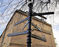 Signpostat Bath, UK. Signpost showing distance of attraction places at Bath, UK Royalty Free Stock Photo