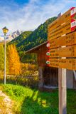 Signposting distances paths in val Gardena. December 2014 during this time of year tourists walking along the paths of the beautiful val gardena follow these royalty free stock image