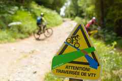 Signposting for mountain biking Stock Images