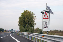 Signposting 1. Signpostin with photovoltaic panel on the highway royalty free stock photos