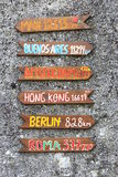 Signposts. Funny signposts showing the direction to citys in the world Stock Photo